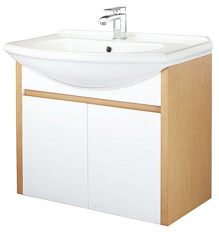 木材纹路的浴柜与白色的脸盆及柜板