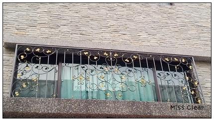 欧式复古全黑色金色喇叭铁门花纹图片