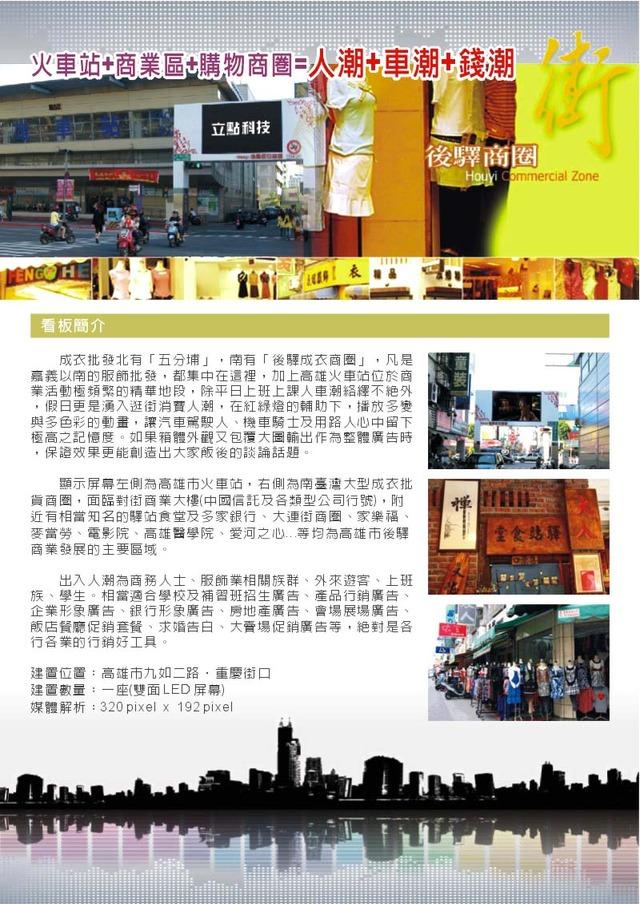 高雄火車站、後驛成衣商圈LED全彩電視牆(九如二路、重慶街入口)