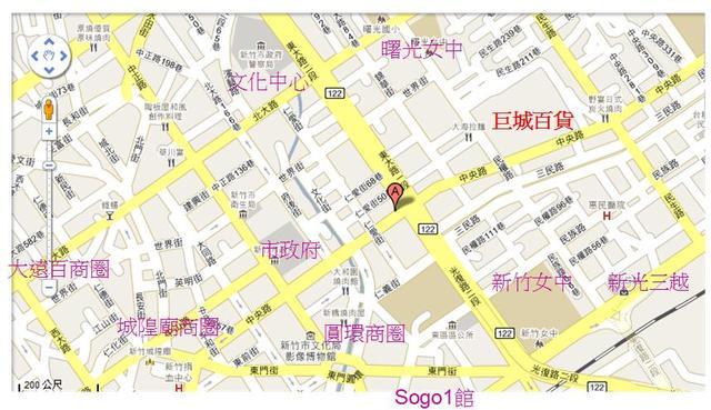 簡易地圖,廣告地點在巨城附近