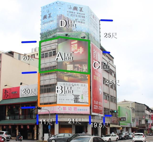台中市西區 三角窗 廣告看版出租 公益路與精誠路十字路口 交叉口 近勤美誠品綠園道