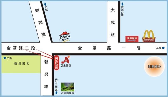 N-0442B鐵架廣告--台南市金華路一段與新興路口-往日新國小、濱海公路、高雄廣告看板