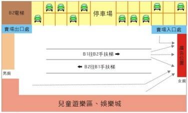AP-B2-N006家樂福安平店B2停車場往賣場入口處(女廁出入口處)