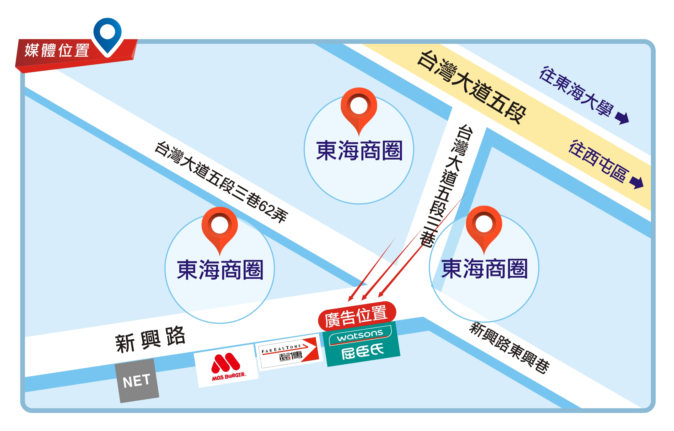 H-0413-龍井區新興路、東海大學商圈、屈臣氏上方