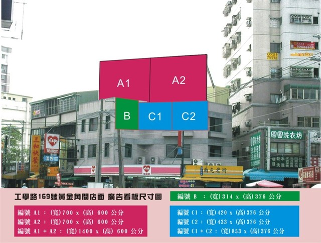 ( 編號 : C 1 、C 2  ) 廣告看板 出租, 黃金角間 熱鬧商圈